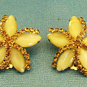 Sparkling Vintage Signed Weiss Rhinestone and Glass Flower Earrings