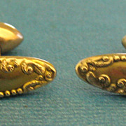 Lovely Victorian Gold Fill Embossed Ladies Cuff Links