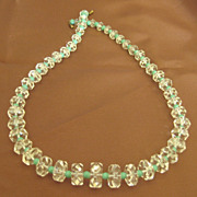 Sparkling Vintage Graduated Crystal Disk Necklace with Turquoise Glass Beads
