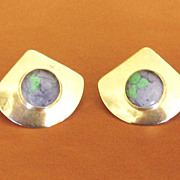 Lovely Signed Sterling Silver Pierced Earrings with Malachite and Turquoise Cabochon
