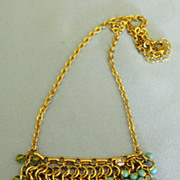 Fabulous Signed Chain Mail Bib Necklace with Blue, Turquoise and Green Glass Beads
