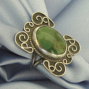 Ornate Vintage Sterling Silver Green Turquoise Ring- Size 6