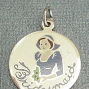 "Adorable Vintage ""Bridesmaid"" Enamel Sterling Silver Charm"