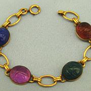 Lovely Vintage 12K Gold Fill Scarab Link Bracelet