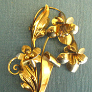 Large Signed Vintage Gold Filled Lily Bouquet Brooch