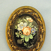 Lovely Victorian Signed Hand Painted Framed Floral Brooch