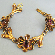 Pretty Vintage Sterling Gold Wash Flower Link Bracelet