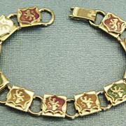 Lovely Vintage Enamel English Lion Shields Bracelet- Medium