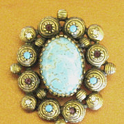 Gorgeous Large Vintage Turquoise Glass & Rhinestone Dangle Brooch