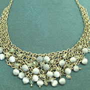 Lovely Vintage Drippy Sterling Bib Necklace with Blue Beads