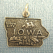 Vintage Sterling Silver Iowa State Charm