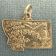 Vintage Sterling Silver Montana State Charm