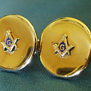Large Vintage Gold Tone and Enamel Masonic Cuff Links