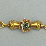 Lovely Vintage Signed Blue Crystal 12K Gold Filled Bracelet