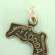 Vintage Sterling Silver Florida State Charm