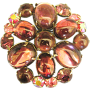"Lovely Signed Vintage Weiss Glass Cabochon ""Jelly Belly"" Brooch"