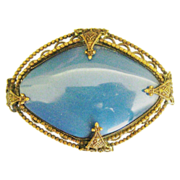 Lovely Vintage Czech Blue Glass Brooch