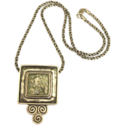 Gorgeous Vintage Roman Glass Sterling Silver Brooch/Pendant with Chain