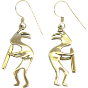 "Lovely Sterling Silver Native American ""Kokopelli"" Pierced Earrings"