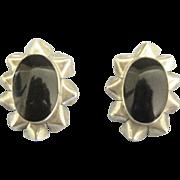 Bold Onyx Sterling Pierced Ruffled Edge Pierced Earrings
