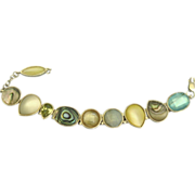 Abalone Shell & Glass Sterling Bracelet
