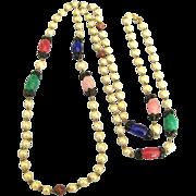 """60"""" Vintage Glass Bead & Faux Pearl Sautoir Necklace"""
