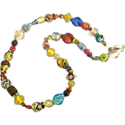 Vintage Colorful Art Glass Bead Necklace