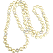 Beautiful Large Faux Glass Pearl & AB Crystal Sautoir Necklace- 38 Inches!