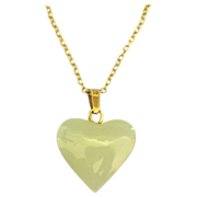 "Vintage Jade 14K Puffy Heart Pendant & 18"" Chain"