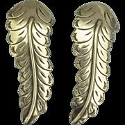 Large Graceful Sterling Feather Pierced Earrings