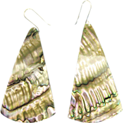 Gorgeous Vintage Abalone Sterling Silver Pierced Dangle Earrings