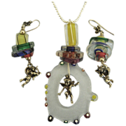 Fabulous Italian Murano Glass Sterling Cherub Pendant & Earrings