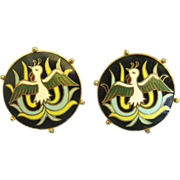 Handsome Vintage Cloisonne Enamel on Gold Tone Cuff Links