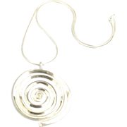 Huge Sterling Modernist Pendant and Chain- 66 Grams!