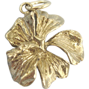 Pretty Sterling Hibiscus Flower Charm
