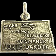 "Vintage Sterling ""North Dakota"" State Charm"