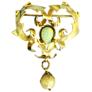 Signed Jolle Vermeil Faux Opal & Pearl Dangle Brooch