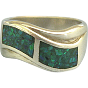 Gorgeous Modernist Style Inlaid Opal Sterling Ring- Size 6 1/2