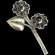 Lovely Long Sterling Silver Roses Brooch