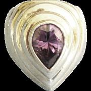 Bold Elegant Sterling Amethyst Dome Ring- Size 6 3/4