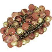 Pretty Pink Vintage Expansion Murano Bead & Faux Pearl Bracelet
