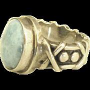 Bold Artistic Vintage Sterling Larimar Ring- Size