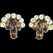 Vintage Deep Purple Signed Weiss Rhinestone Earrings