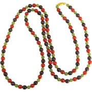 """Gleaming Faceted Amethyst, Chalcedony, and Carnelian Bead 42"""" Sautoir Necklace"""
