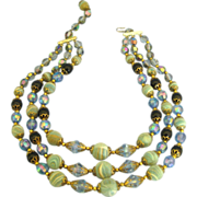 Vintage AB, Blue Crystal & Frosted Glass Bead Triple Strand Necklace