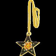 Vintage Large Italian Micro Mosaic Star Pendant & Chain