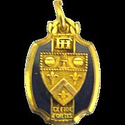 """Vintage Dieges & Clust """"Ex Fide Fortis"""" GF Enamel Medal or Pendant"""