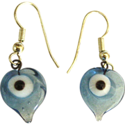 "Italian Glass ""Evil Eye"" Sterling Pierced Earrings"