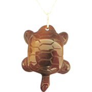 Large Carved Carnelian Turtle with Sterling Chain