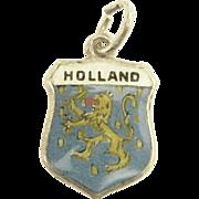 Vintage Enamel Holland Travel Shield Charm